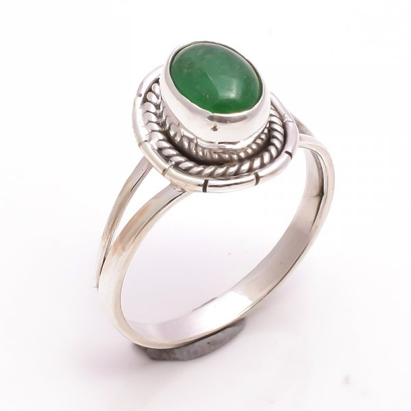 Green Jade Gemstone 925 Sterling Silver Ring Size US 10