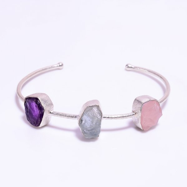 Rose Quartz Aquamarine Amethyst Raw Gemstone 925 Sterling Silver Adjustable Bangle