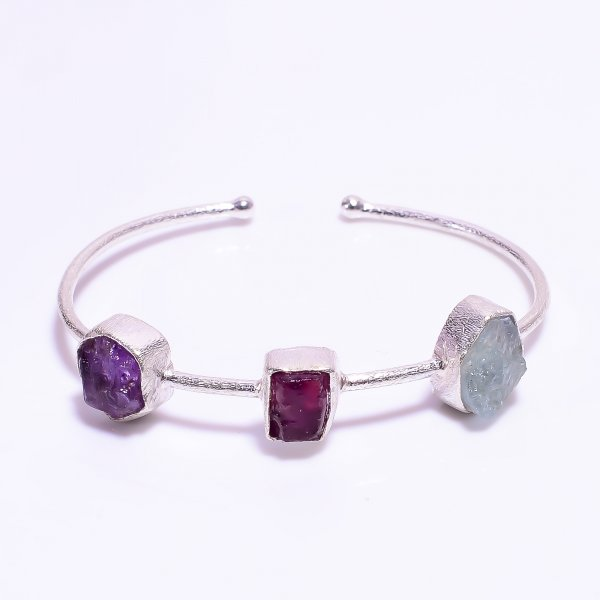 Aquamarine Ruby Amethyst Raw Gemstone 925 Sterling Silver Adjustable Bangle