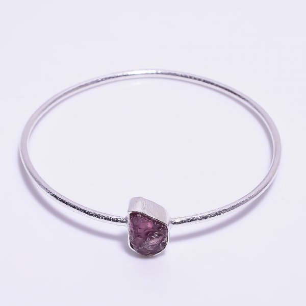 Ruby Raw Gemstone 925 Sterling Silver Bangle