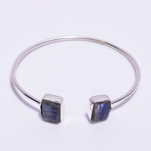 Blue Kyanite Raw Gemstone 925 Sterling Silver Adjustable Bangle