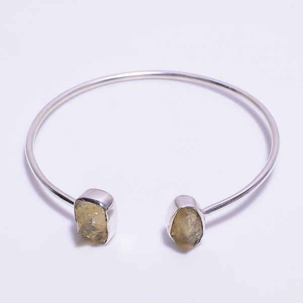 Citrine Raw Gemstone 925 Sterling Silver Adjustable Bangle
