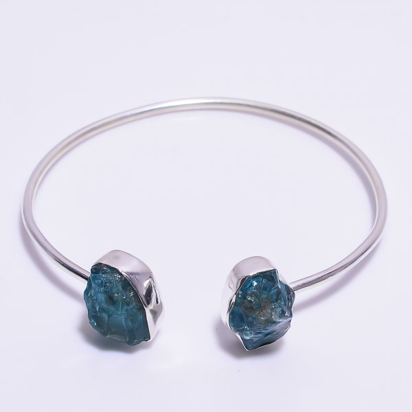 Sky Apatite Raw Gemstone 925 Sterling Silver Adjustable Bangle