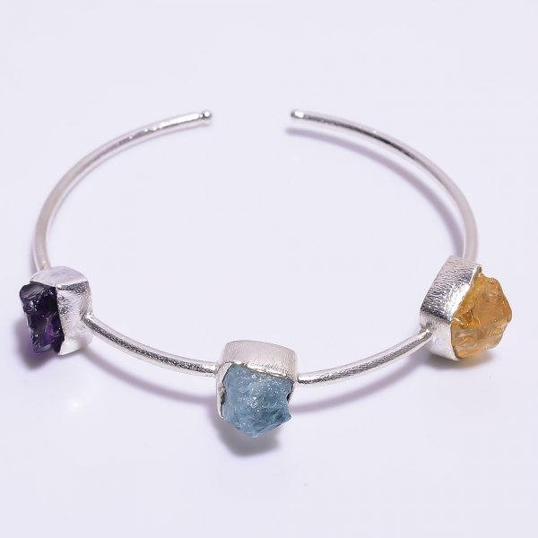 Citrine Aquamarine Amethyst Raw Gemstone 925 Sterling Silver Adjustable Bangle