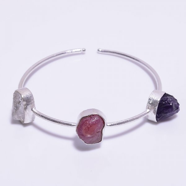 Crystal Ruby Amethyst Raw Gemstone 925 Sterling Silver Adjustable Bangle