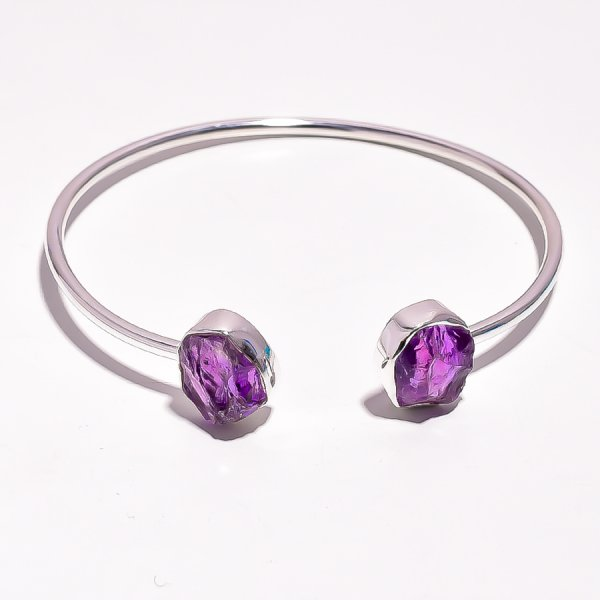 Amethyst Raw Gemstone 925 Sterling Silver Adjustable Bangle