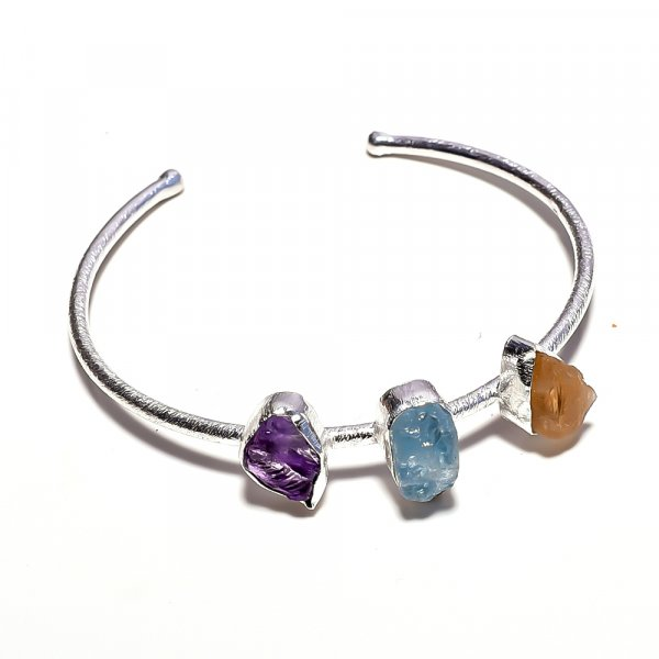 Citrine Aquamarine Amethyst Raw Gemstone 925 Sterling Silver Bangle