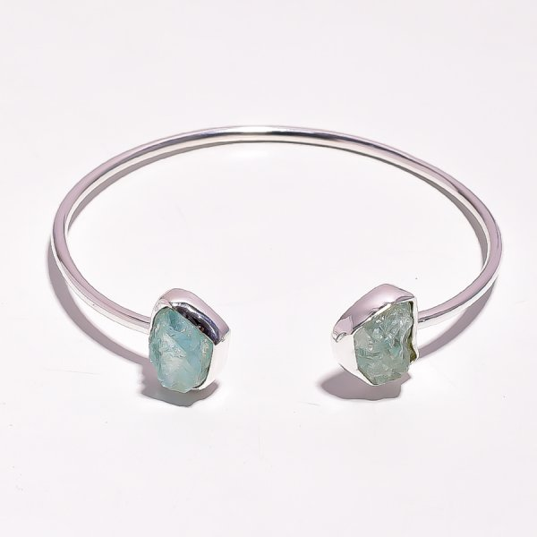 Aquamarine Raw Gemstone 925 Sterling Silver Bangle