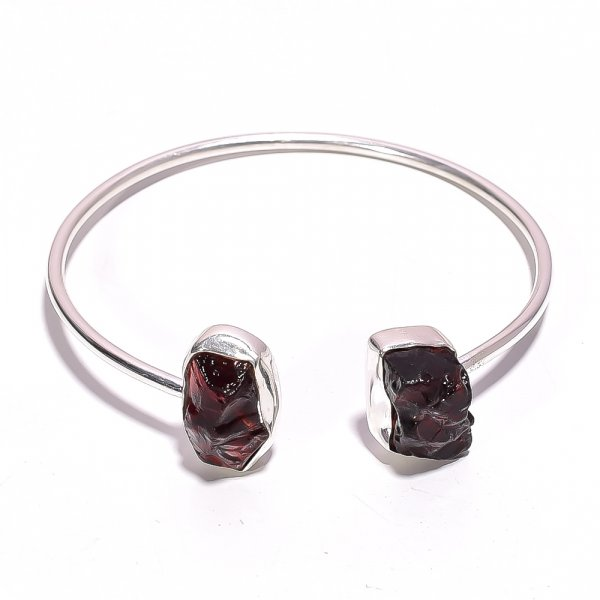 Garnet Raw Gemstone 925 Sterling Silver Bangle