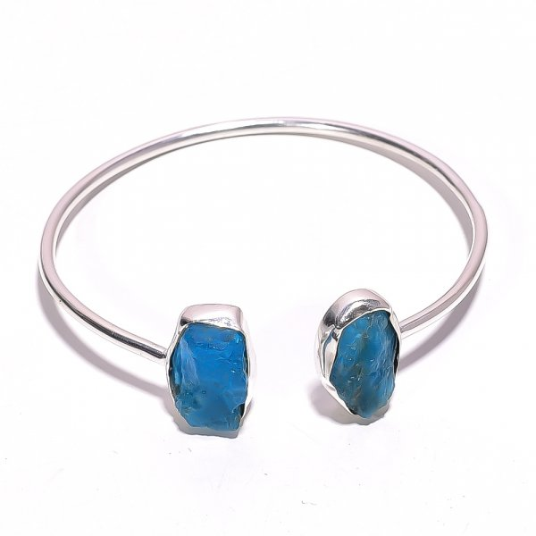 Neon Apatite Raw Gemstone 925 Sterling Silver Bangle