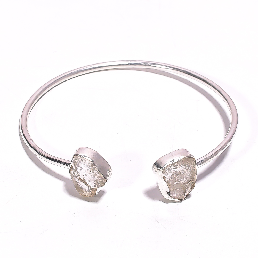 Crystal Raw Gemstone 925 Sterling Silver Bangle