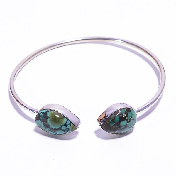 Turquoise Raw Gemstone 925 Sterling Silver Bangle