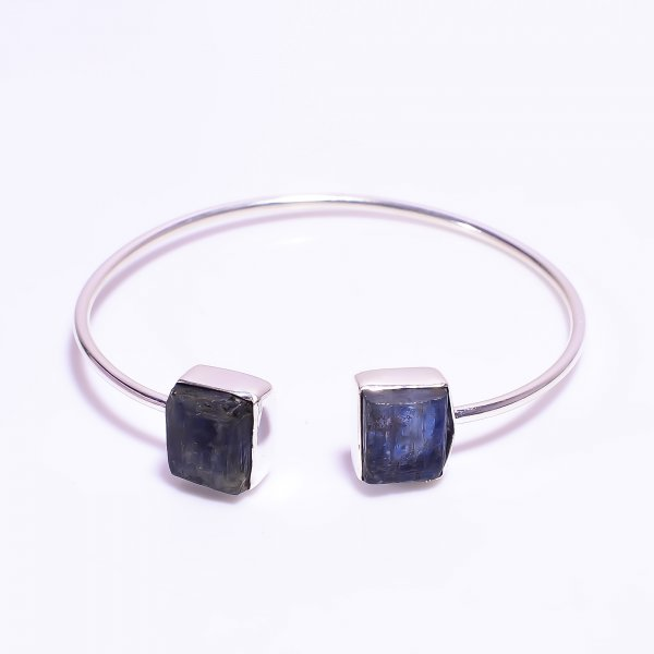 Blue Kyanite Raw Gemstone 925 Sterling Silver Bangle