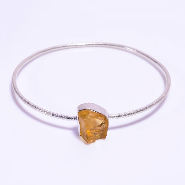 Citrine Raw Gemstone 925 Sterling Silver Bangle