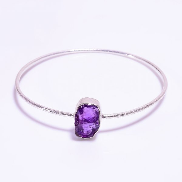 Amethyst Raw Gemstone 925 Sterling Silver Bangle