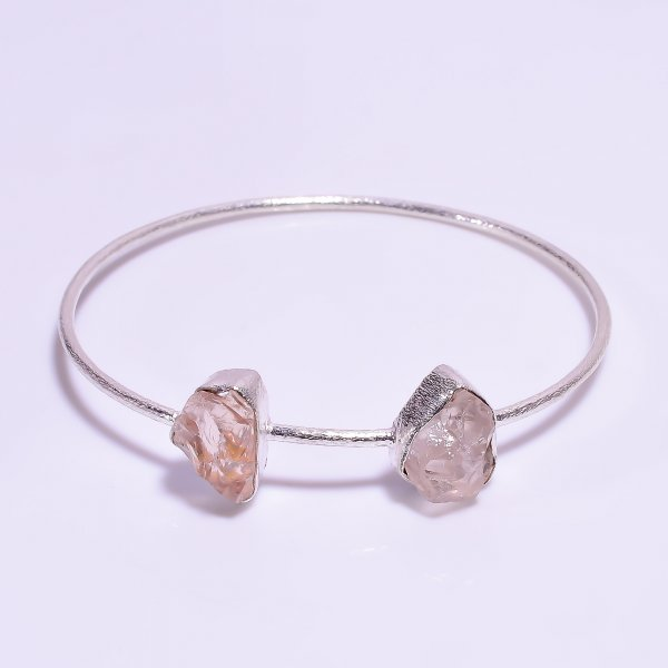 Rose Quartz Raw Gemstone 925 Sterling Silver Bangle