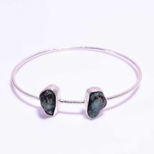 Emerald Raw Gemstone 925 Sterling Silver Bangle