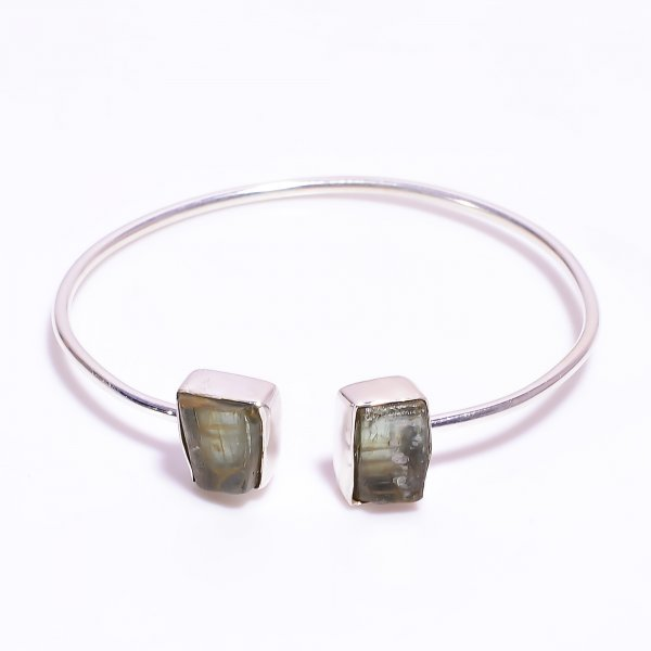 Green Kyanite Raw Gemstone 925 Sterling Silver Bangle