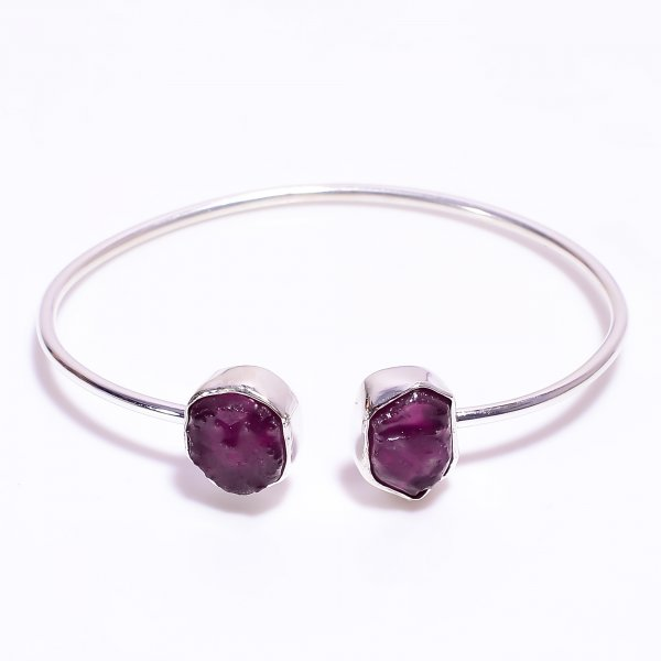 Natural Raw Ruby 925 Sterling Silver Bangle
