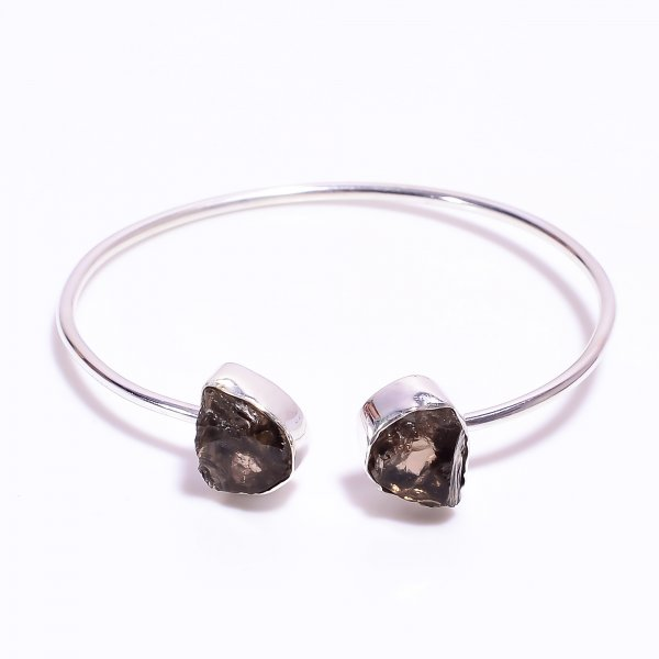Smoky Raw Gemstone 925 Sterling Silver Bangle