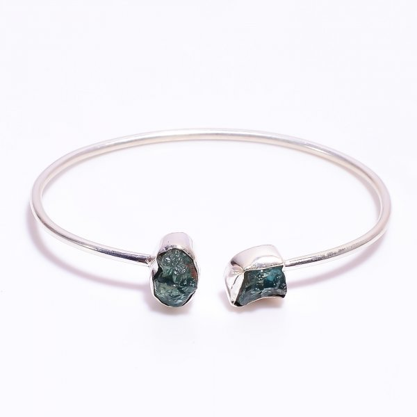 Sky Apatite Raw Gemstone 925 Sterling Silver Bangle