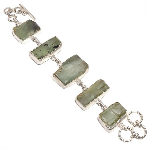 Green Kyanite Raw Gemstone 925 Sterling Silver Bracelet
