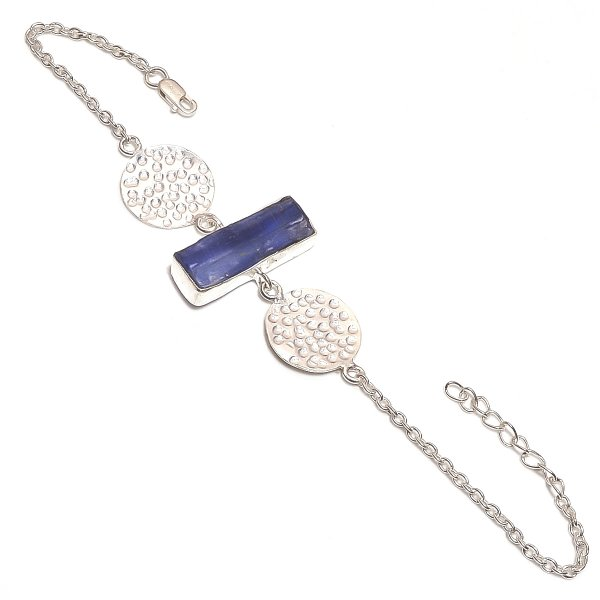 Kyanite Raw Gemstone 925 Sterling Silver Bracelet
