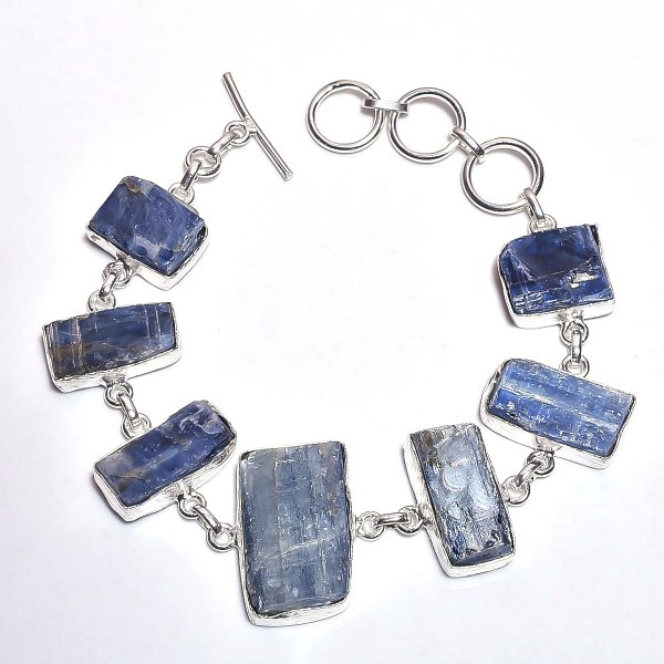 Blue Kyanite Raw Gemstone 925 Sterling Silver Bracelet