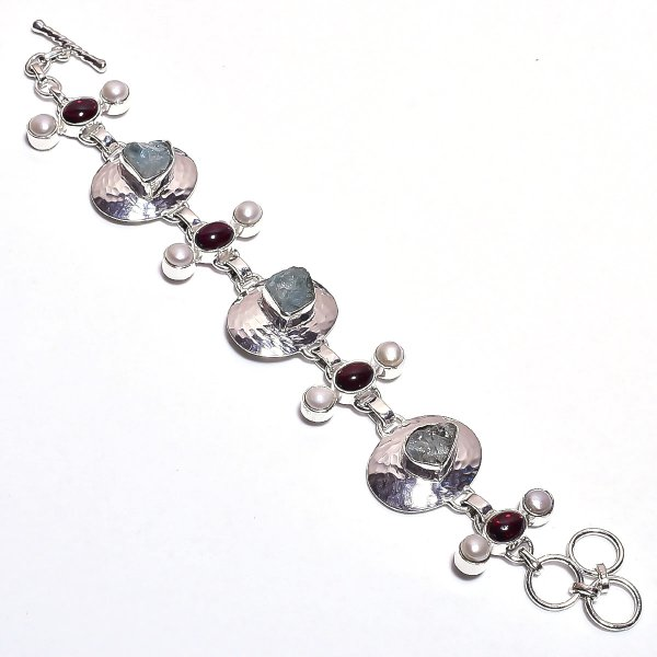 Aquamarine Garnet Raw Gemstone 925 Sterling Silver Bracelet