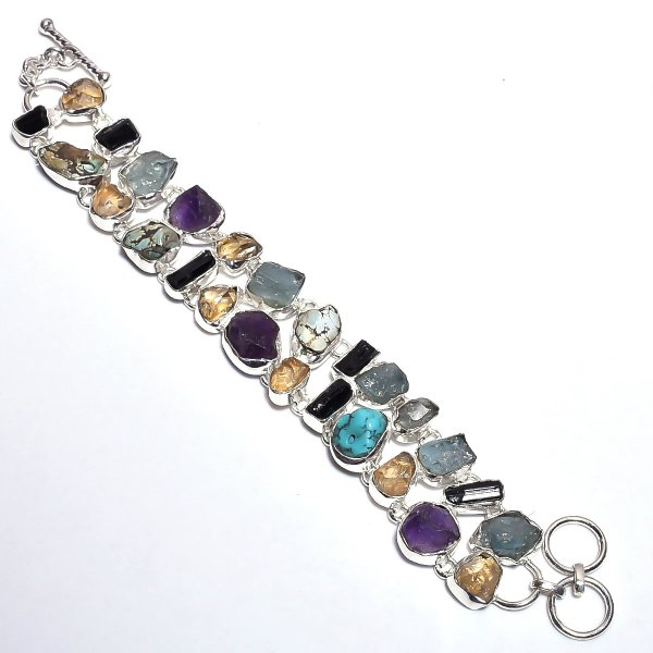Black Tourmaline Aquamarine Raw Gemstone 925 Sterling Silver Bracelet