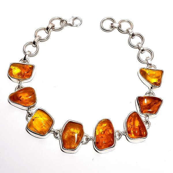 Amber Raw Gemstone 925 Sterling Silver Bracelet