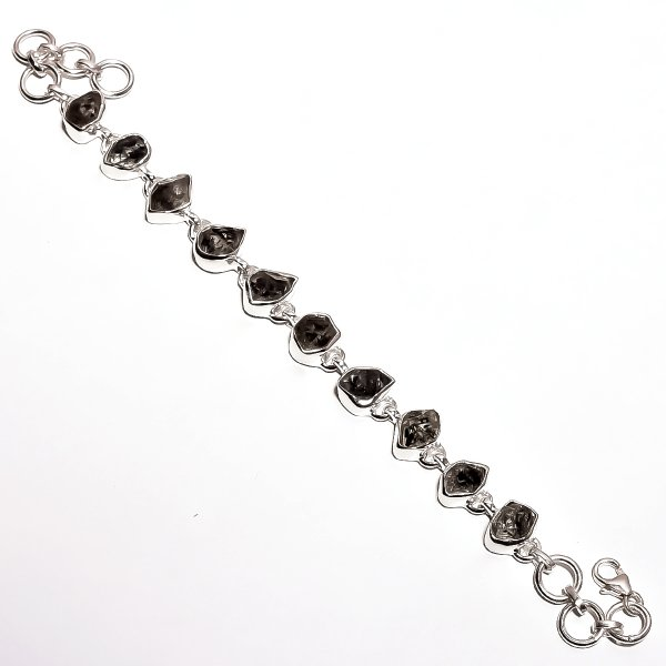 Herkimer Diamound Raw Gemstone 925 Sterling Silver Bracelet