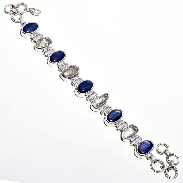 Blue Kyanite Herkimer Diamound Raw Gemstone 925 Sterling Silver Bracelet