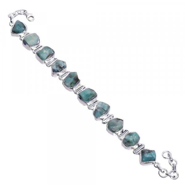 Emerald Raw Gemstone 925 Sterling Silver Bracelet
