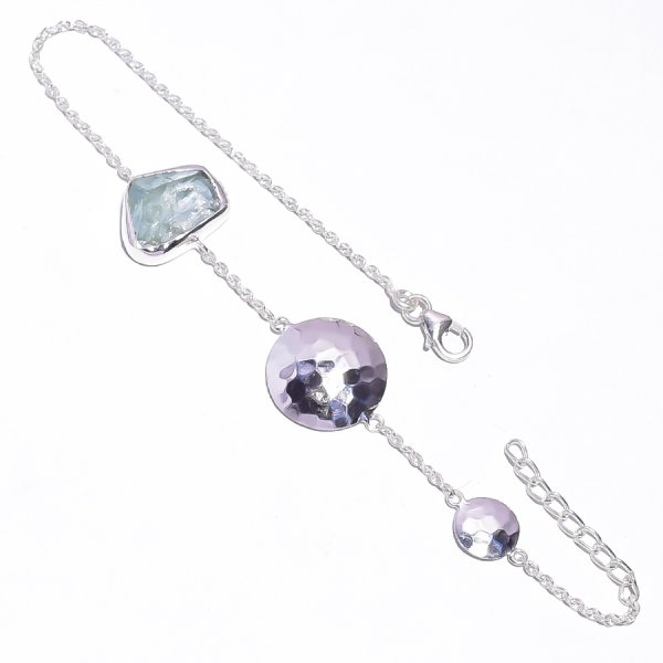 Aquamarine Raw Gemstone 925 Sterling Silver Bracelet
