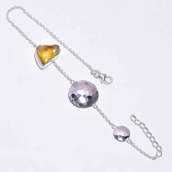 Citrine Raw Gemstone 925 Sterling Silver Bracelet