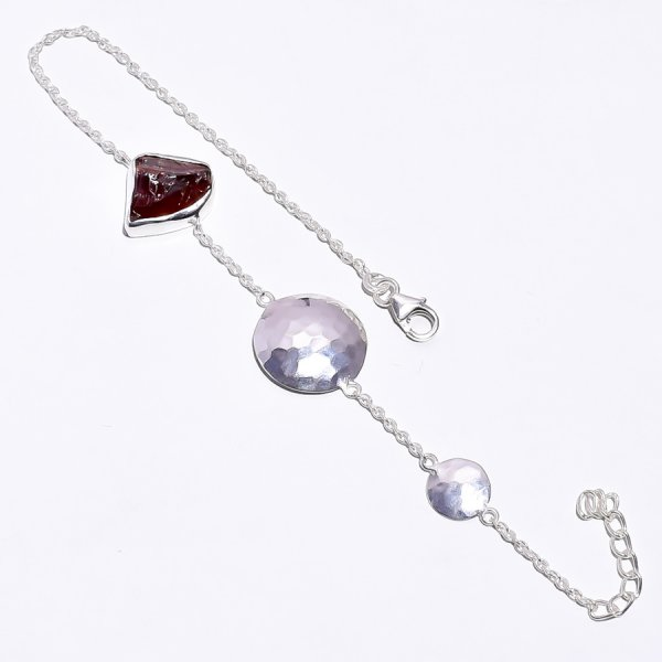 Garnet Raw Gemstone 925 Sterling Silver Bracelet