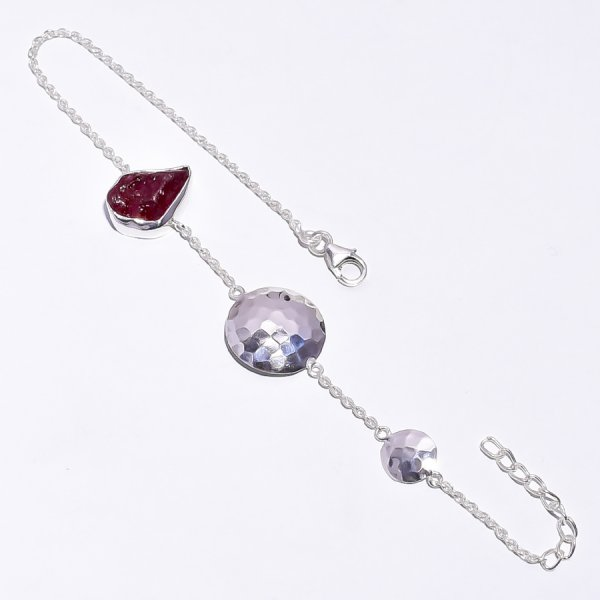 Corundum Ruby Raw Gemstone 925 Sterling Silver Bracelet