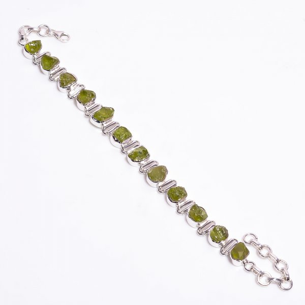 Peridot Raw Gemstone 925 Sterling Silver Bracelet