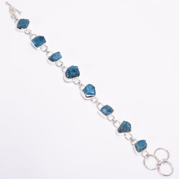 Natural Neon Apatite Raw Gemstone 925 Sterling Silver Bracelet