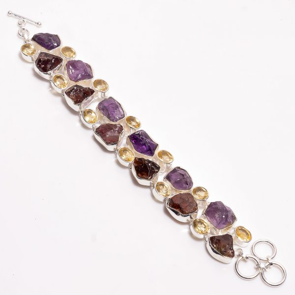 Natural Citrine Garnet Amethyst Raw Gemstone 925 Sterling Silver Bracelet