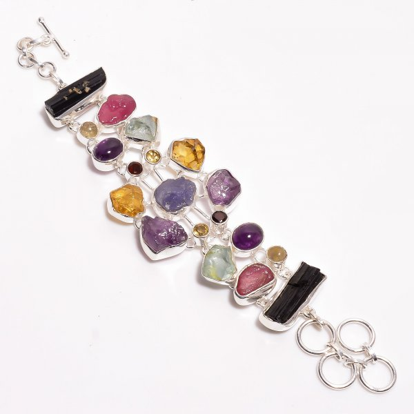 Natural Raw Multi Gemstone 925 Sterling Silver Bracelet