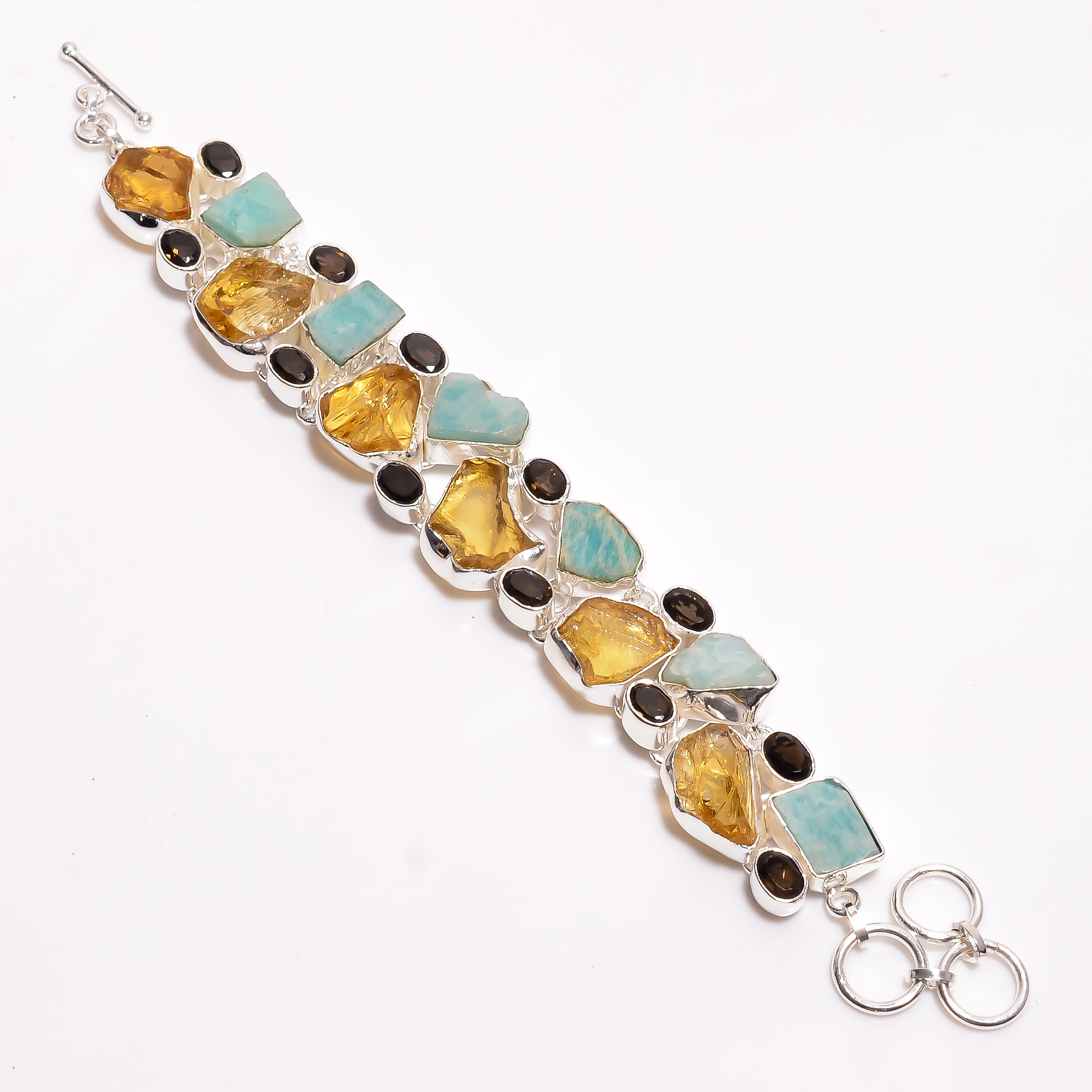 Natural Citrine Amazonite Smoky Raw Gemstone 925 Sterling Silver Bracelet