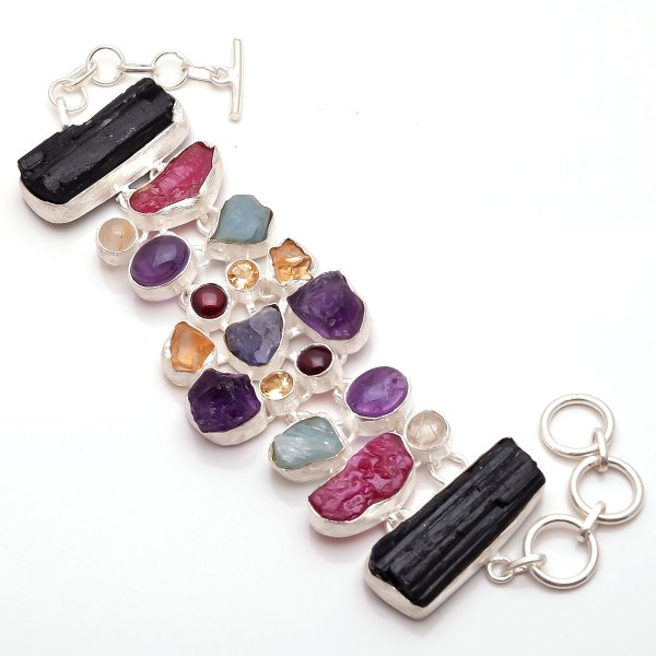 Raw Multi Gemstone 925 Sterling Silver Bracelet
