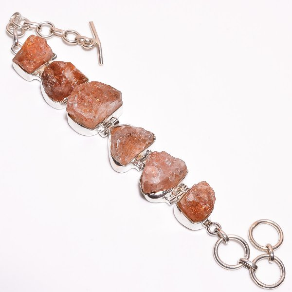 Sunstone Raw Gemstone 925 Sterling Silver Bracelet