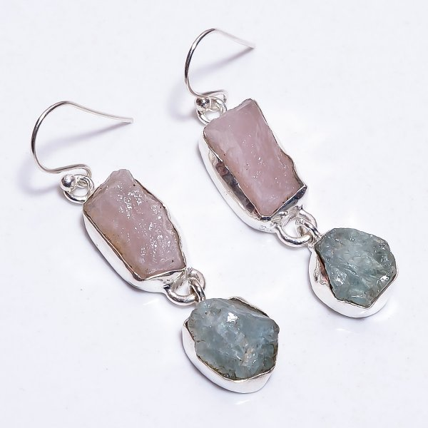 Rose Quartz Aquamarine Raw Gemstone 925 Sterling Silver Earrings