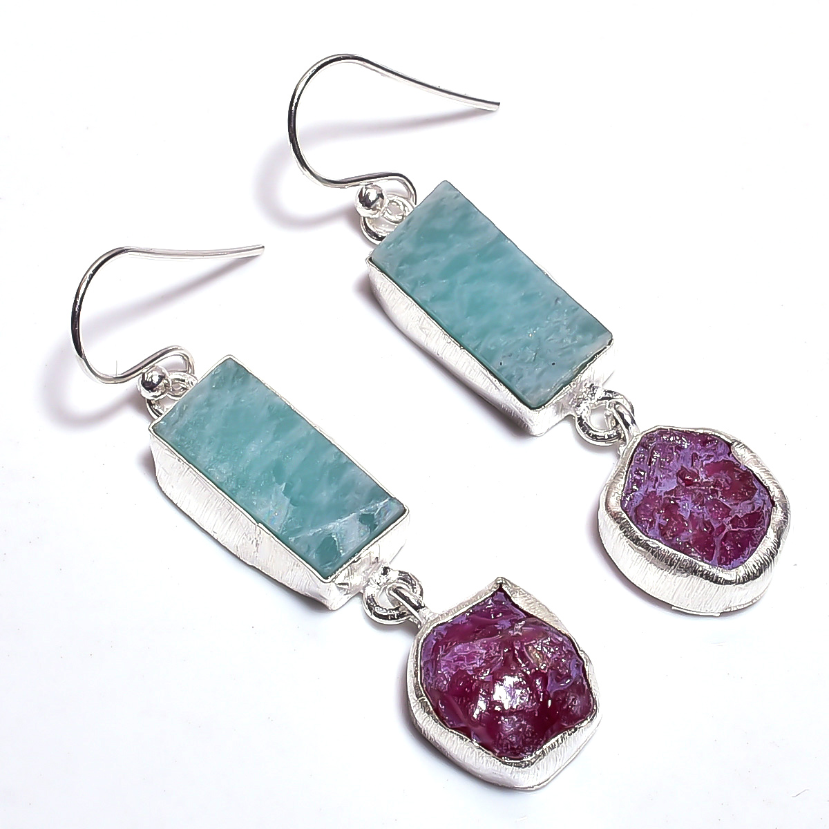 Amazonite Corundum Ruby Raw Gemstone 925 Sterling Silver Earrings