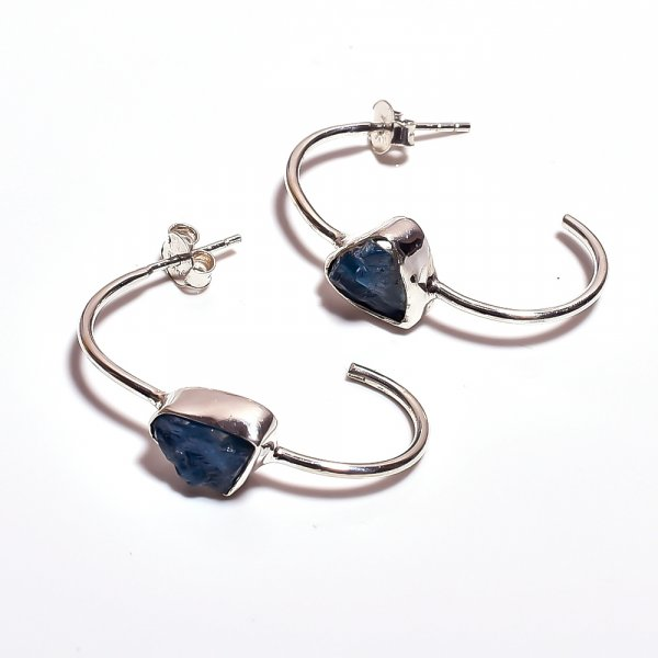Neon Apatite Raw Gemstone 925 Sterling Silver Earrings