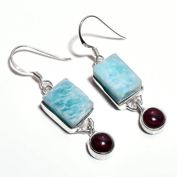Amazonite Garnet Raw Gemstone 925 Sterling Silver Earrings