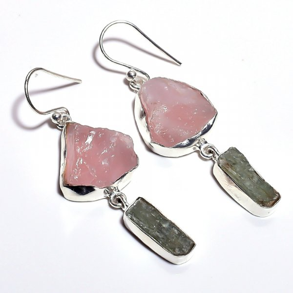 Rose Quartz, Green Kyanite Raw Gemstone 925 Sterling Silver Earrings